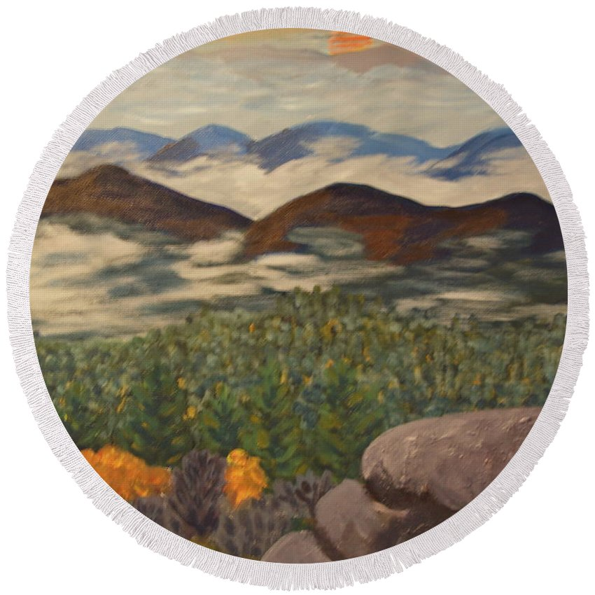 Landscape Round Beach Towel featuring the painting Smokey Mountain Sunset by David Rodden