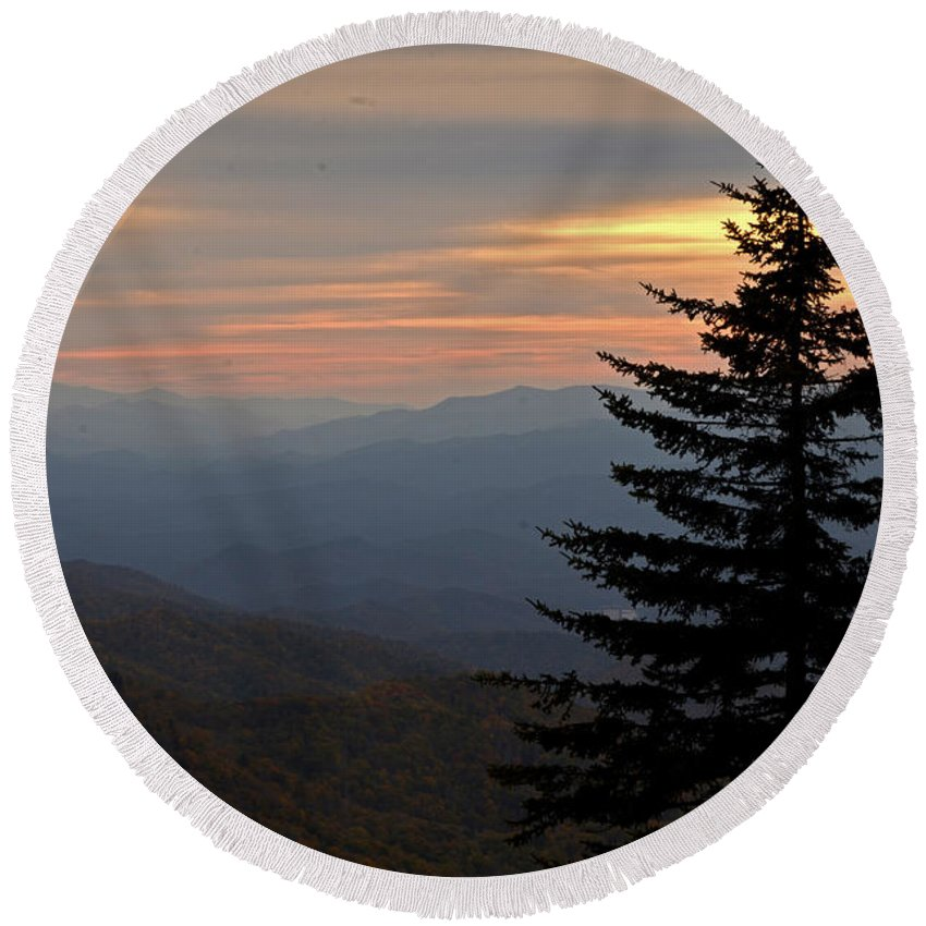 Smoky Mountains Round Beach Towel featuring the photograph Smoky Mountain Sentinel by Eric Albright