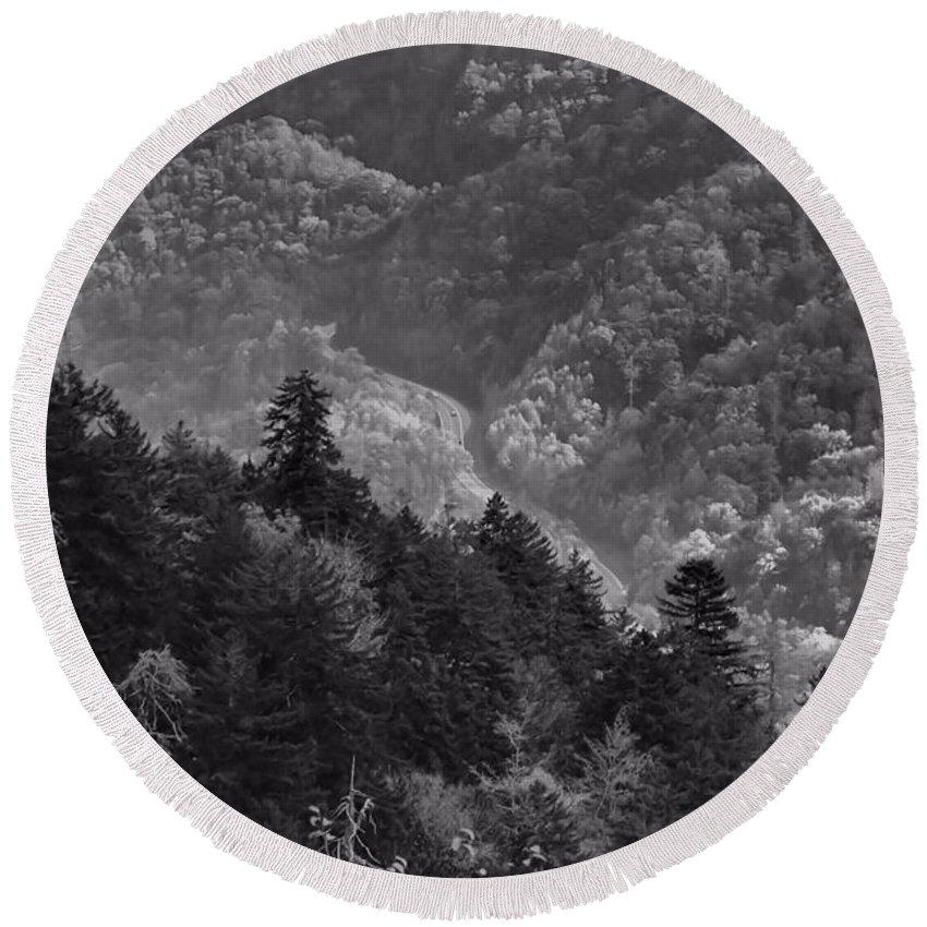 Smoky Mountain View Black And White Round Beach Towel featuring the photograph Smoky Mountain View Black And White by Dan Sproul