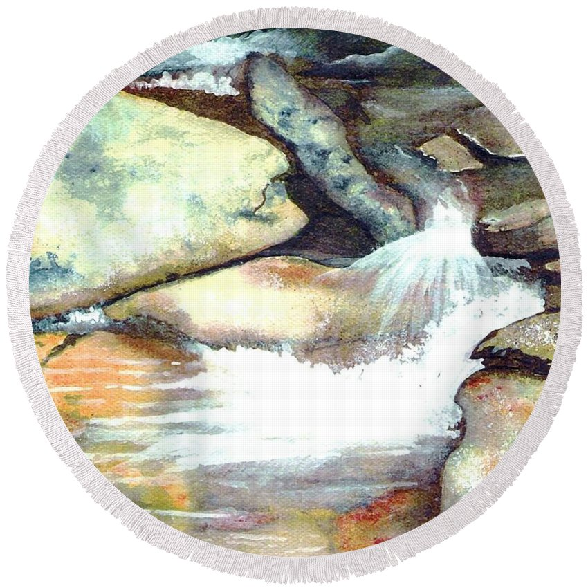 Fine Art Round Beach Towel featuring the painting Smoky Mountains Waterfall by Patricia Griffin Brett