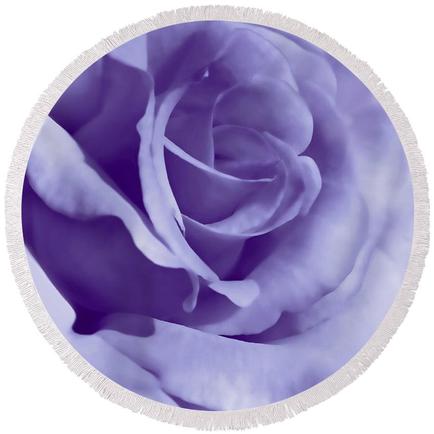 Rose Round Beach Towel featuring the photograph Smoky Purple Rose Flower by Jennie Marie Schell