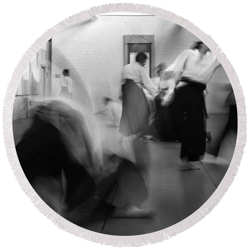 Martial Art Round Beach Towel featuring the photograph Smooth Aikido by Frederic A Reinecke