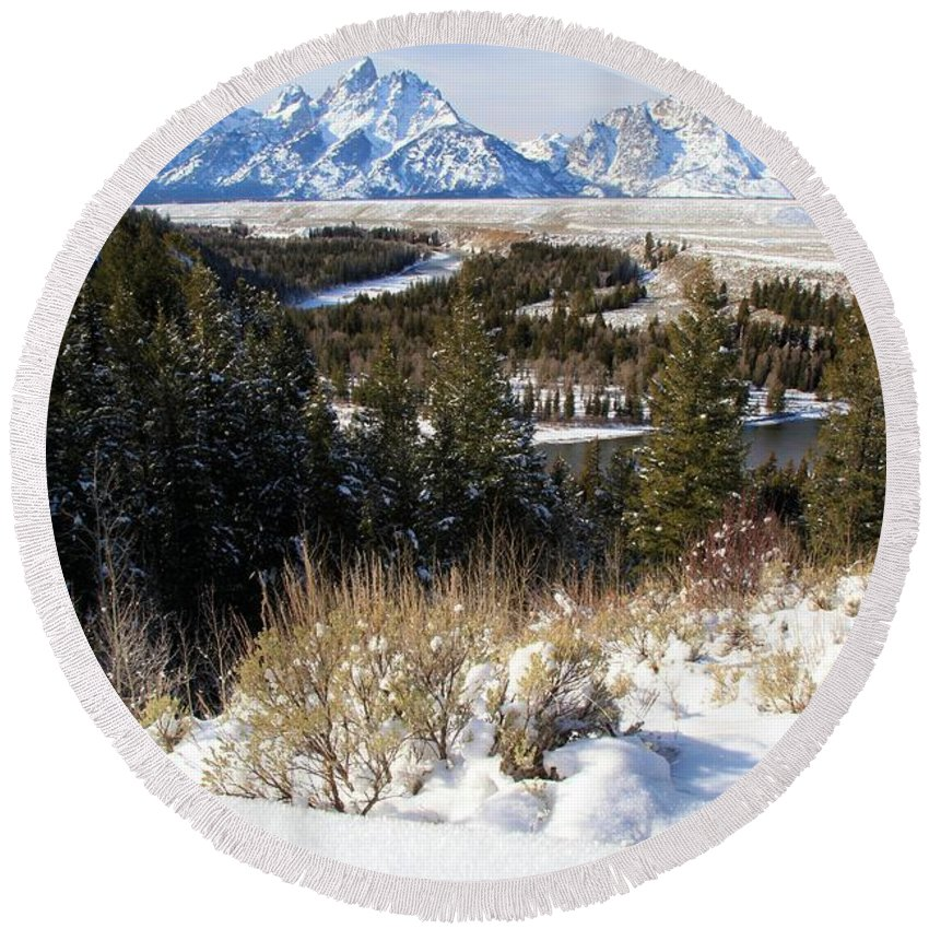 Grand Teton National Park Round Beach Towel featuring the photograph Snake River Overlook by Adam Jewell