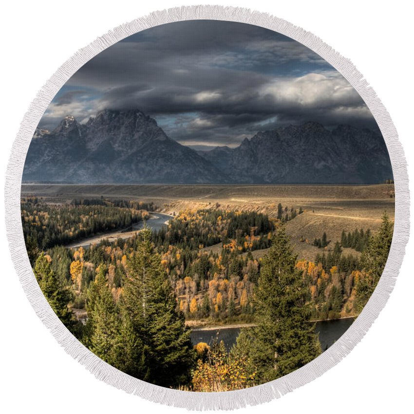 Snake River Storm Round Beach Towel featuring the photograph Snake River Storm by Wes and Dotty Weber