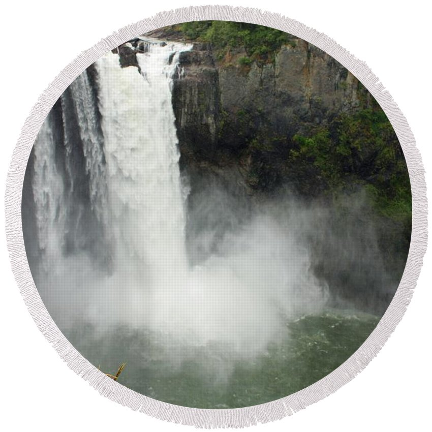 Snoqualmie Falls Round Beach Towel featuring the photograph Snoqualmie Falls by Carol Groenen