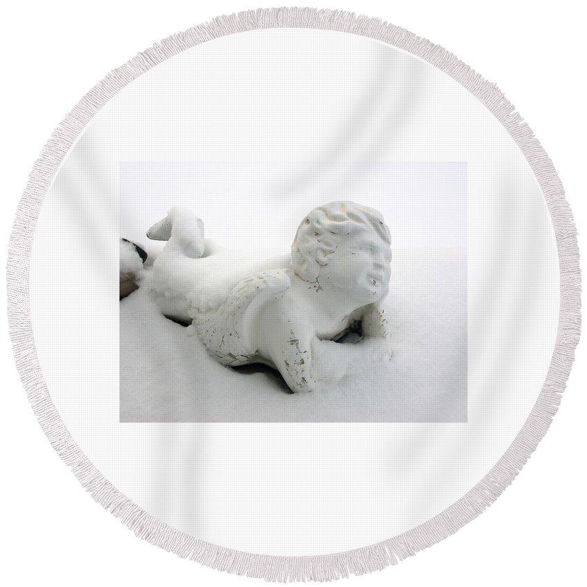 Snow Angel Figurine Round Beach Towel featuring the photograph Snow Angel Figurine by Cynthia Woods