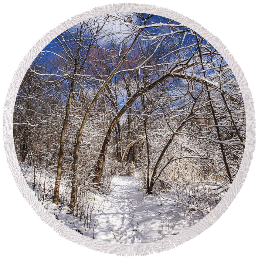 Www.cjschmit.com Round Beach Towel featuring the photograph Snow Arches by CJ Schmit