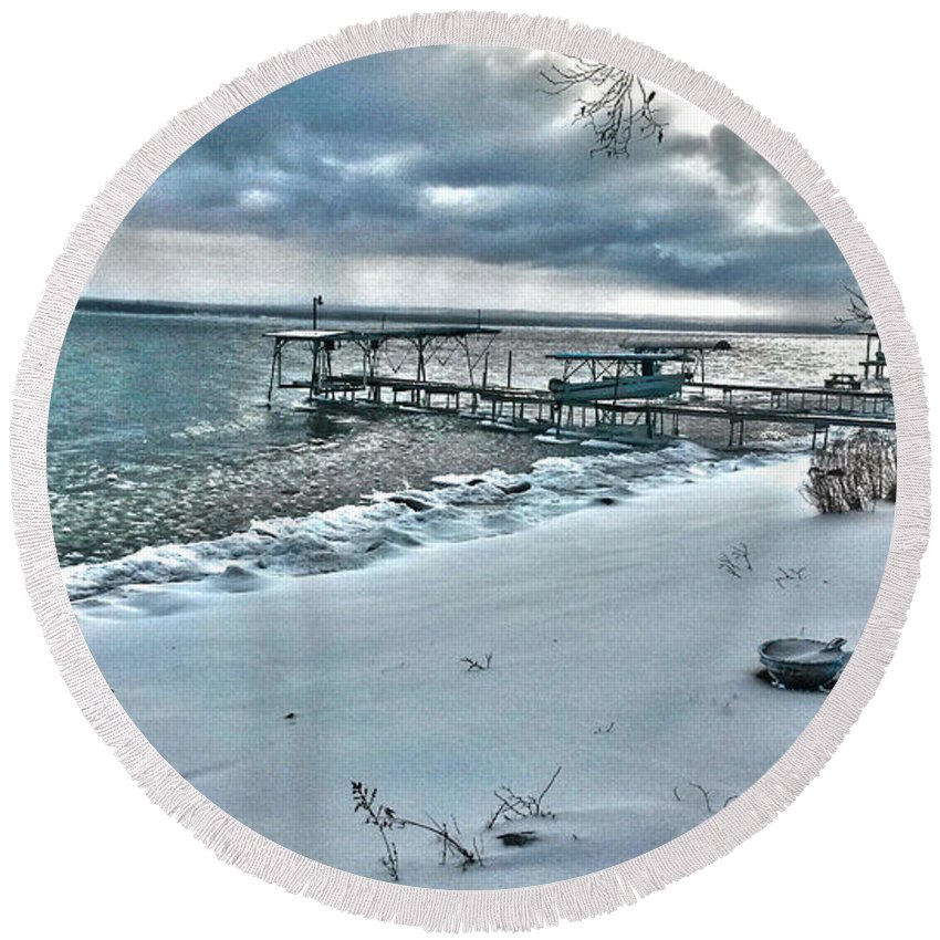 Beach Round Beach Towel featuring the photograph Snow Beach by William Norton