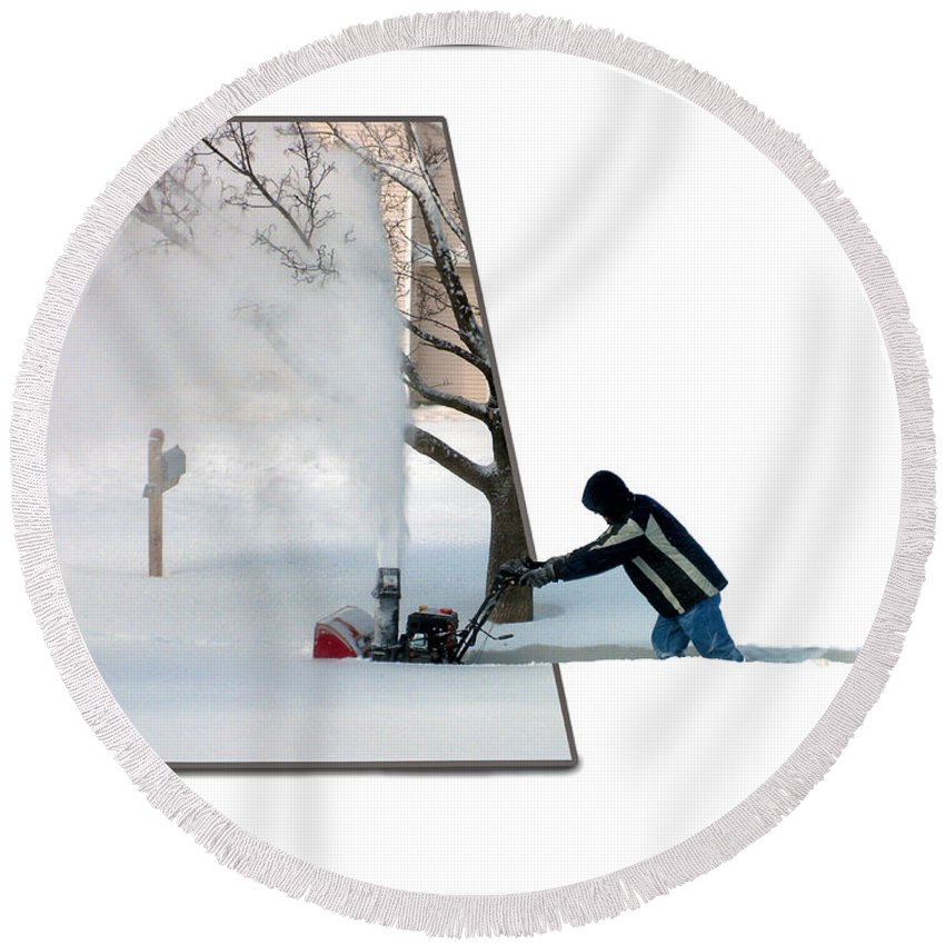 December Round Beach Towel featuring the photograph Snow Blower by Thomas Woolworth