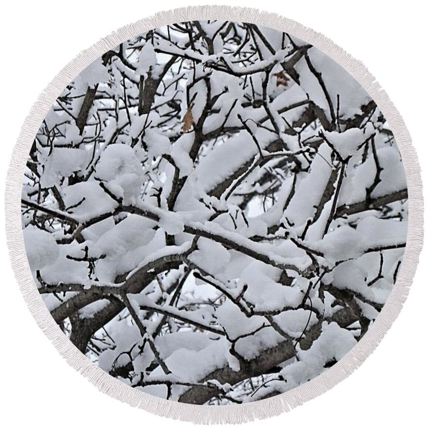 Blizzard Round Beach Towel featuring the digital art Snow Branches 2-1-15 by Doug Morgan