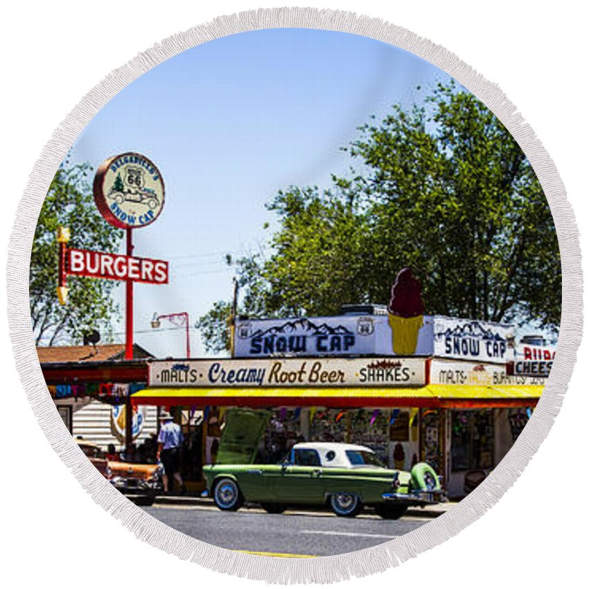 Route 66 Round Beach Towel featuring the photograph Snow Cap by Angus Hooper Iii