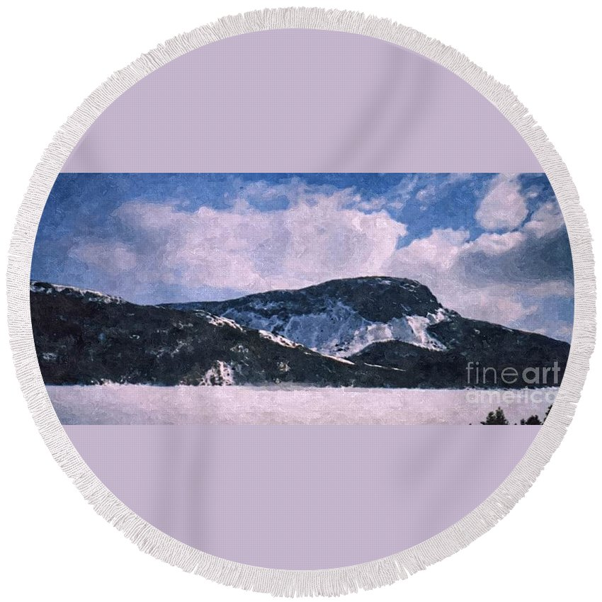 Snow Clouds Round Beach Towel featuring the photograph Snow Clouds - Winter - Ice by Barbara Griffin