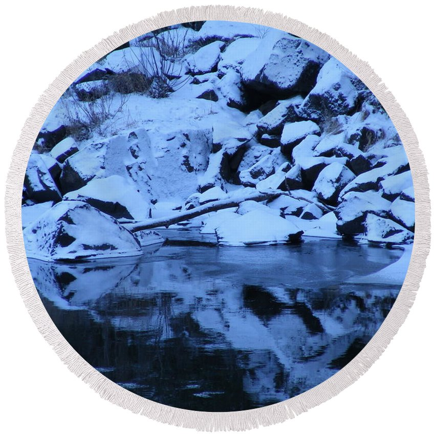 River Round Beach Towel featuring the photograph Snow Covered River Rocks by Mark Hudon