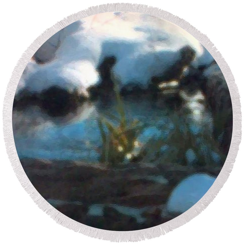 Landscape Round Beach Towel featuring the painting Snow Covered Waterscape by George Pedro