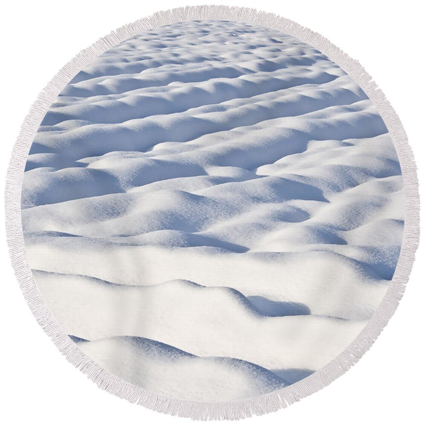 Abstract Round Beach Towel featuring the photograph Snow by Dan Radi