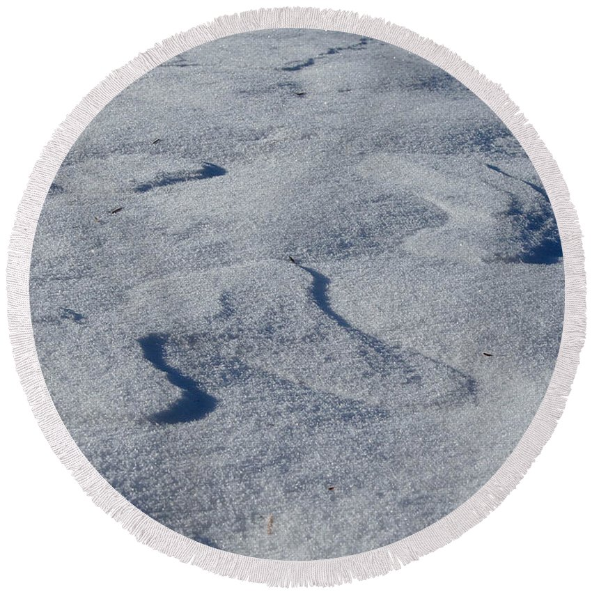 Outdoors Round Beach Towel featuring the photograph Snow Dunes by Susan Herber