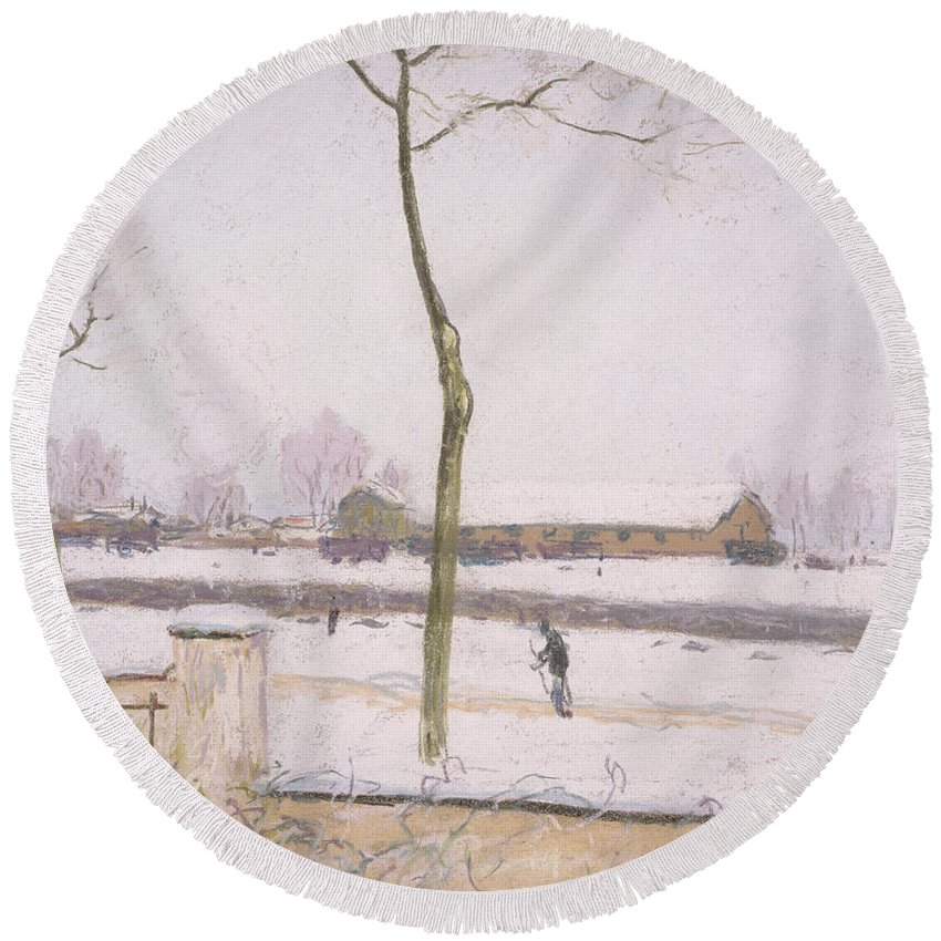Sisley Round Beach Towel featuring the painting Snow Effect Effet De Neige Pastel On Paper C. 1880-1885 by Alfred Sisley