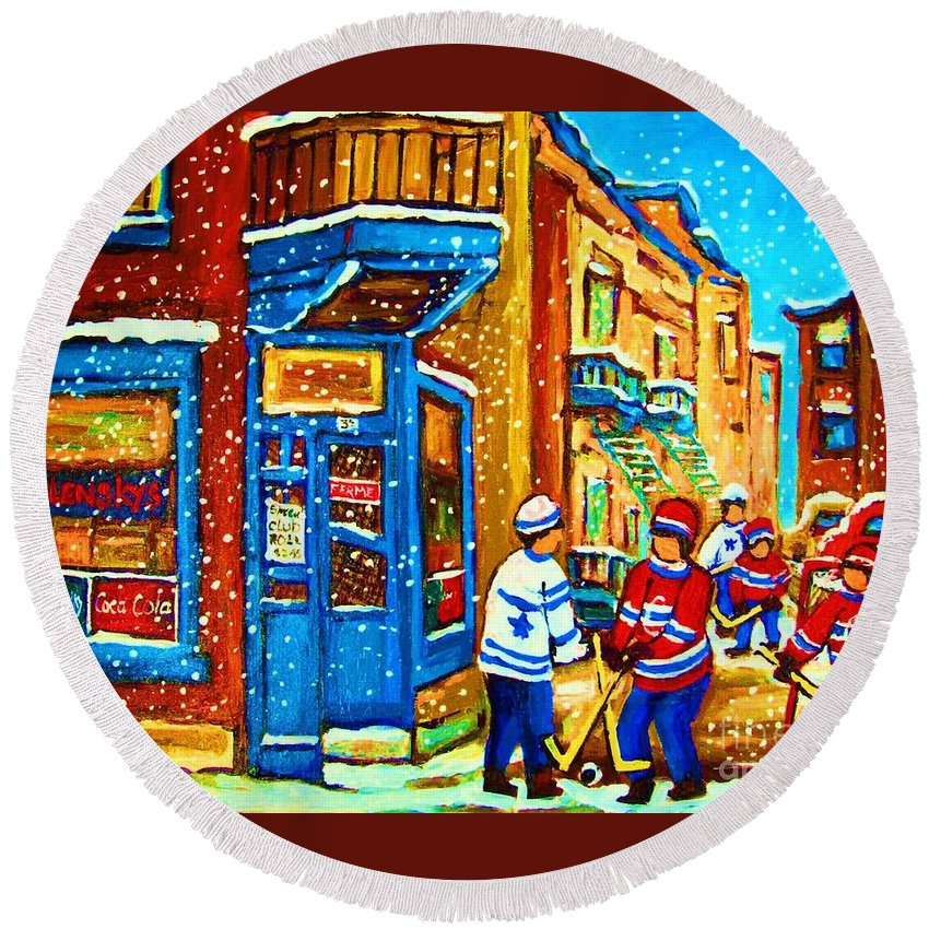 Wilenskys Round Beach Towel featuring the painting Snow Falling On The Game by Carole Spandau
