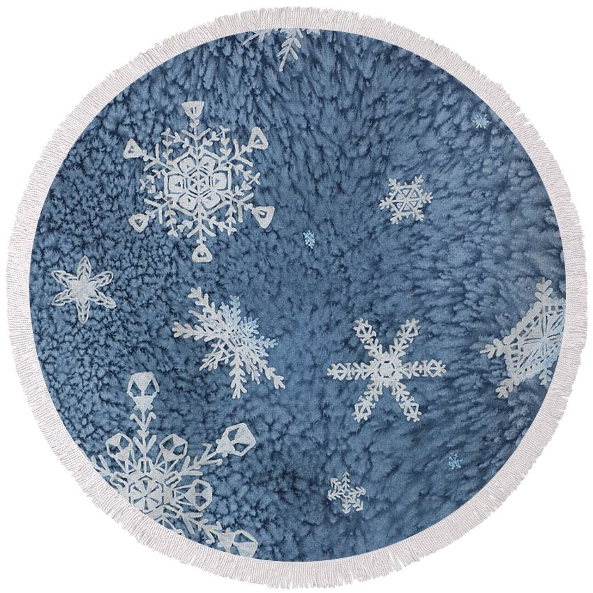 Contemporary Round Beach Towel featuring the painting Snow Jewels by Margaret Bobb