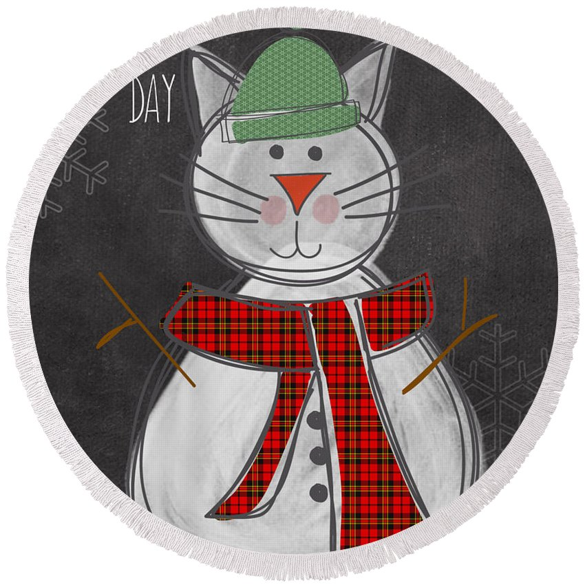 Cat Round Beach Towel featuring the painting Snow Kitten by Linda Woods