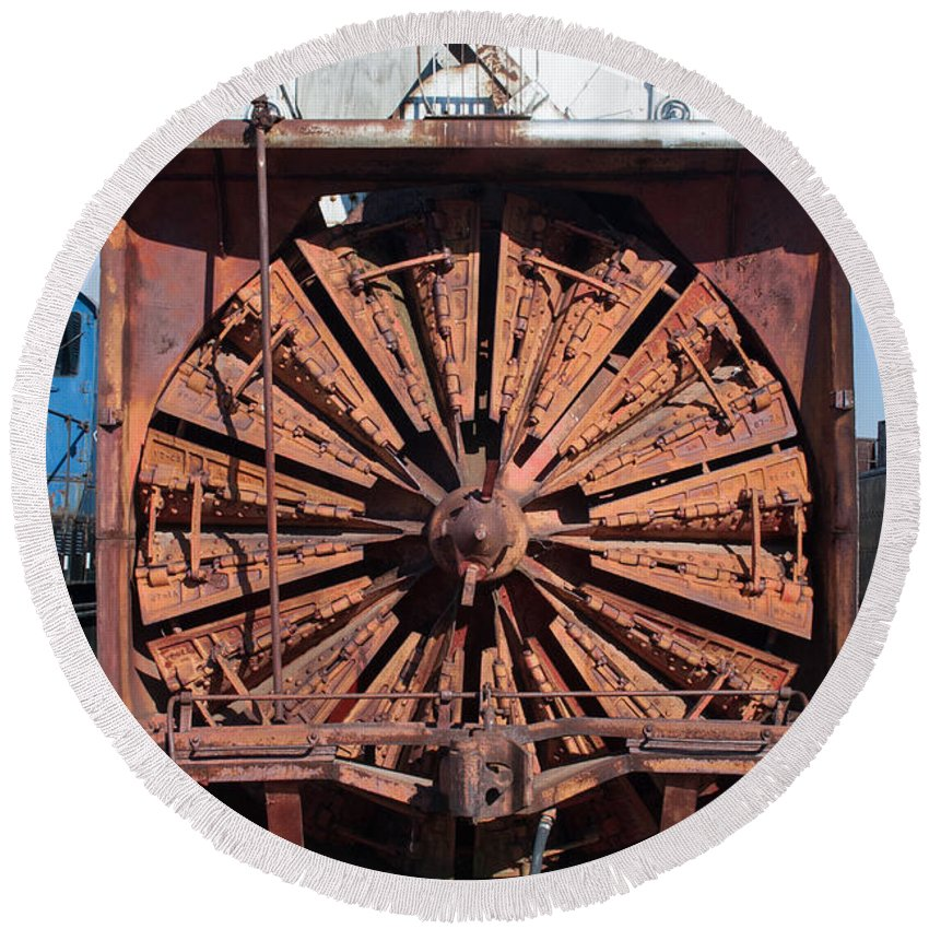 Old Locomotives Round Beach Towel featuring the photograph Snow Mover by Robert Storost