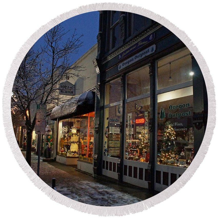 Snow Round Beach Towel featuring the photograph Snow On G Street - Old Town Grants Pass by Mick Anderson