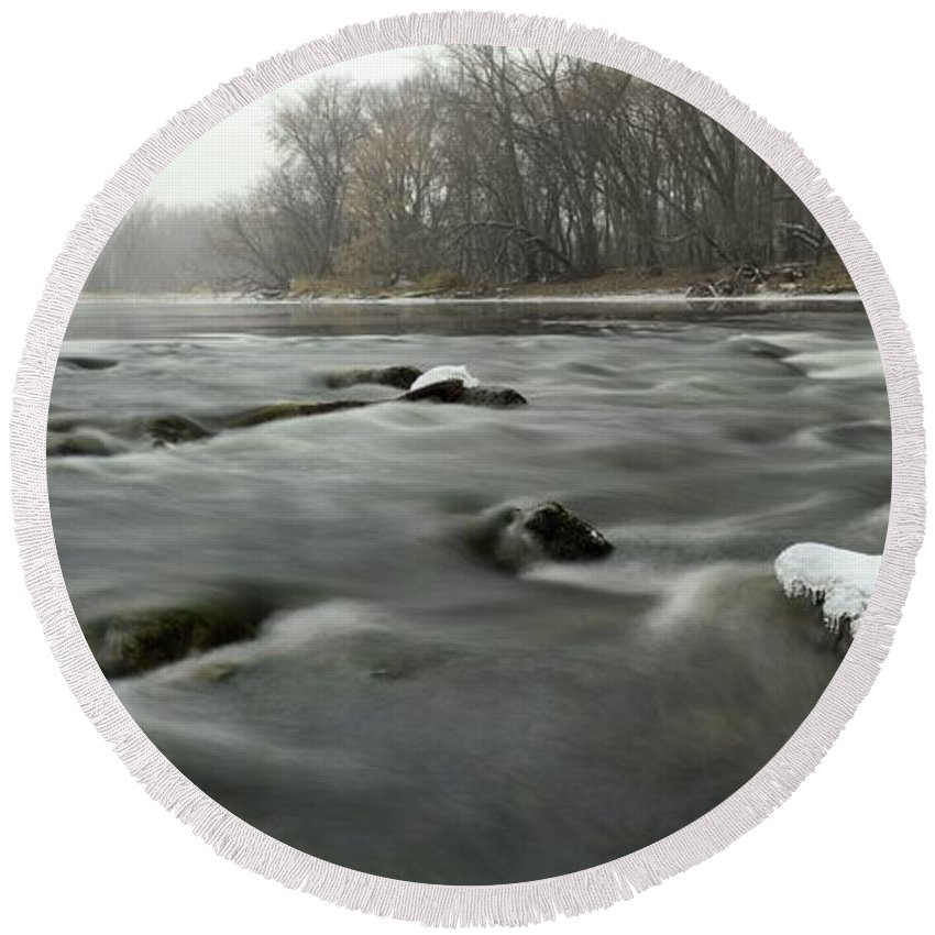 River Round Beach Towel featuring the photograph Snow Rapids by Bonfire Photography