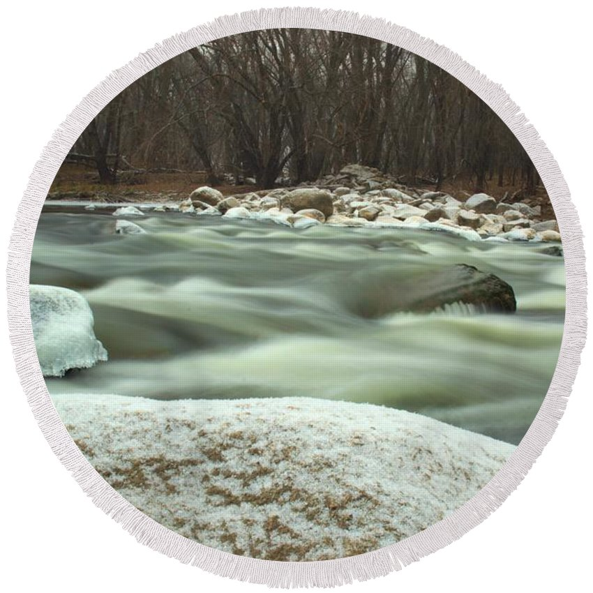 River Round Beach Towel featuring the photograph Snow Rock by Bonfire Photography