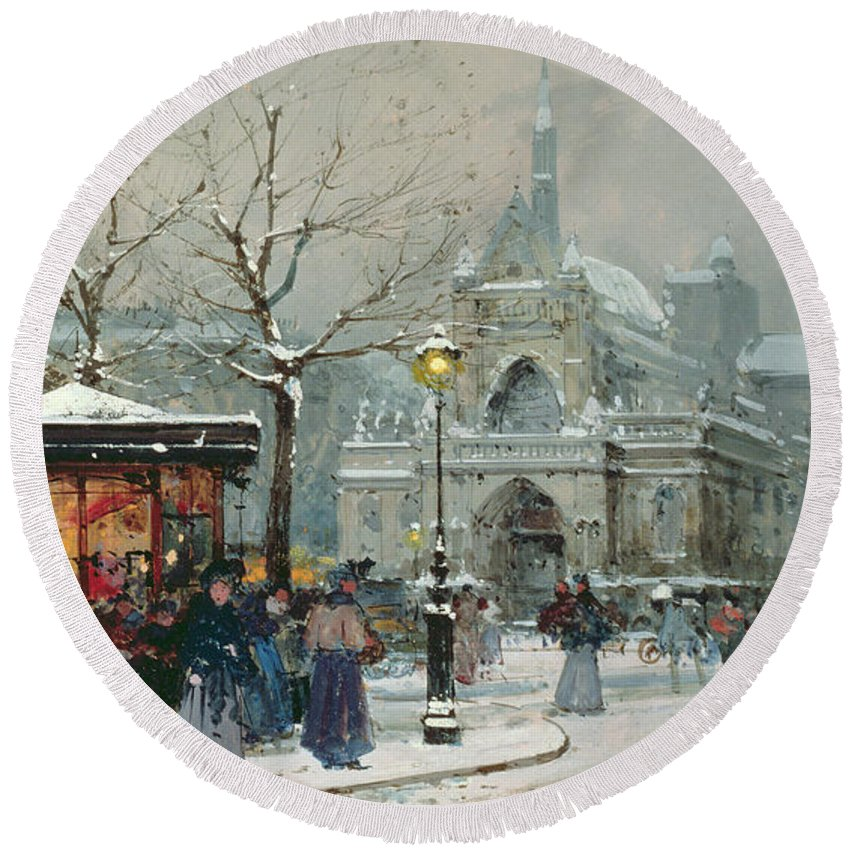 Gas Light Round Beach Towel featuring the painting Snow Scene In Paris by Eugene Galien-Laloue