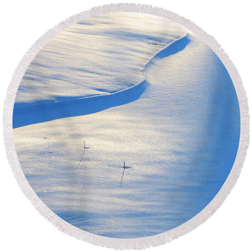 Snow Round Beach Towel featuring the photograph Snow Sunlight And Shadows by Greg Matchick