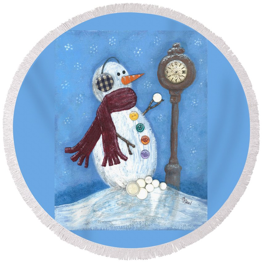 Snow Time Round Beach Towel featuring the mixed media Snow Time by Carol Neal
