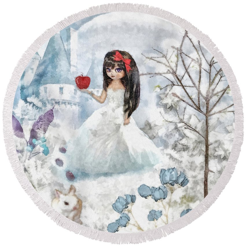 Snow White Round Beach Towel featuring the mixed media Snow White by Mo T