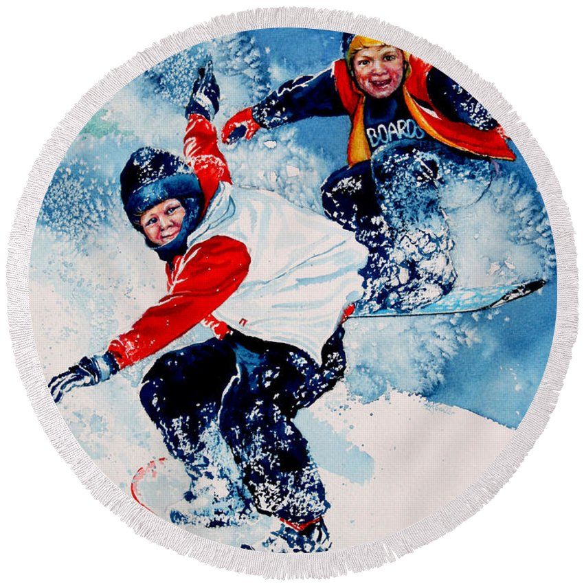 Sports Round Beach Towel featuring the painting Snowboard Psyched by Hanne Lore Koehler