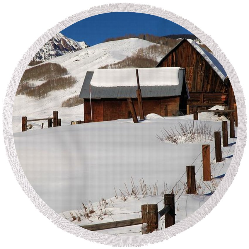 Old Barns Round Beach Towel featuring the photograph Snowed In by Adam Jewell