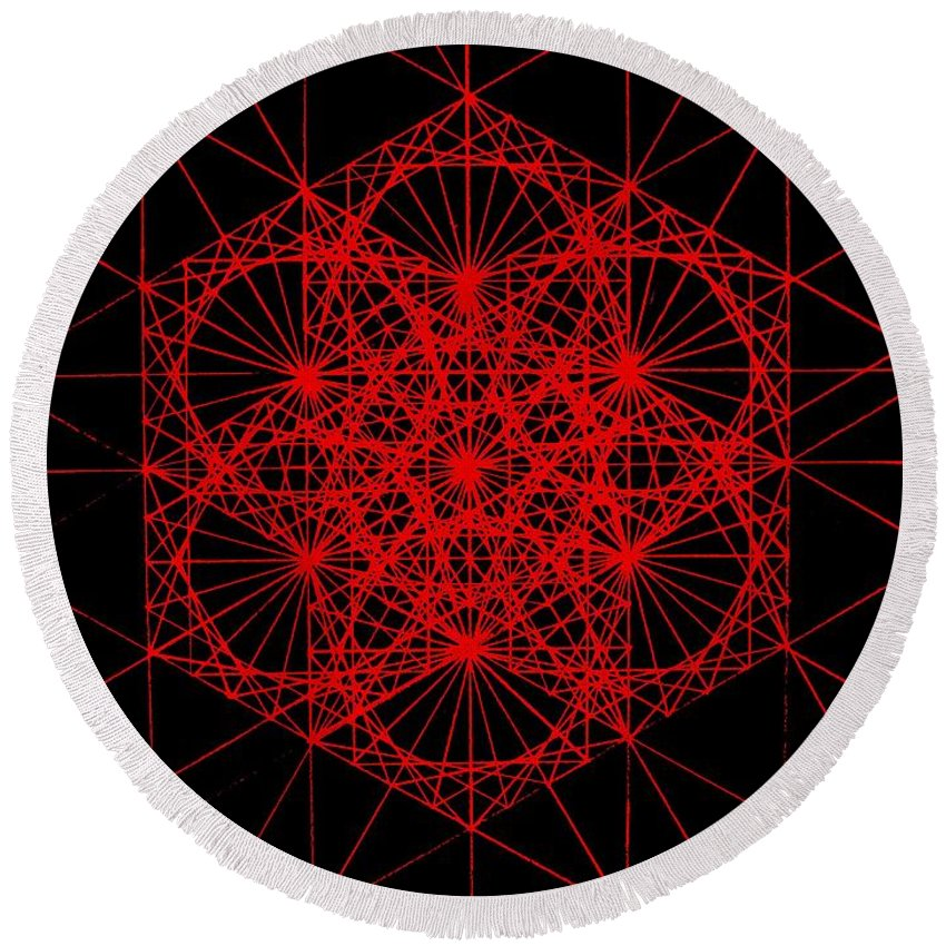 Koch.snowflake Round Beach Towel featuring the drawing Snowflake Shape Comes From Frequency And Mass by Jason Padgett