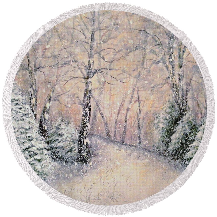 Snow Landscape Round Beach Towel featuring the painting Snowflakes by Natalie Holland