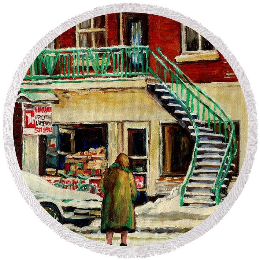 Montreal Round Beach Towel featuring the painting Snowing At The Five And Dime by Carole Spandau