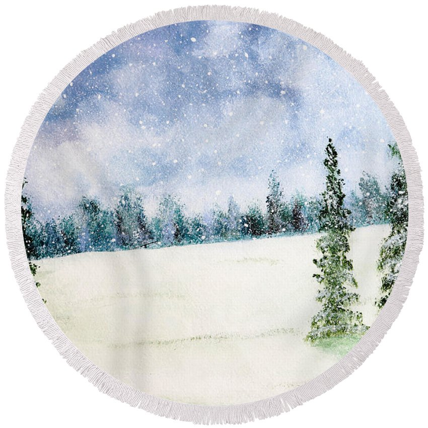 Christmas Round Beach Towel featuring the painting Snowing In Christmas by Nirdesha Munasinghe