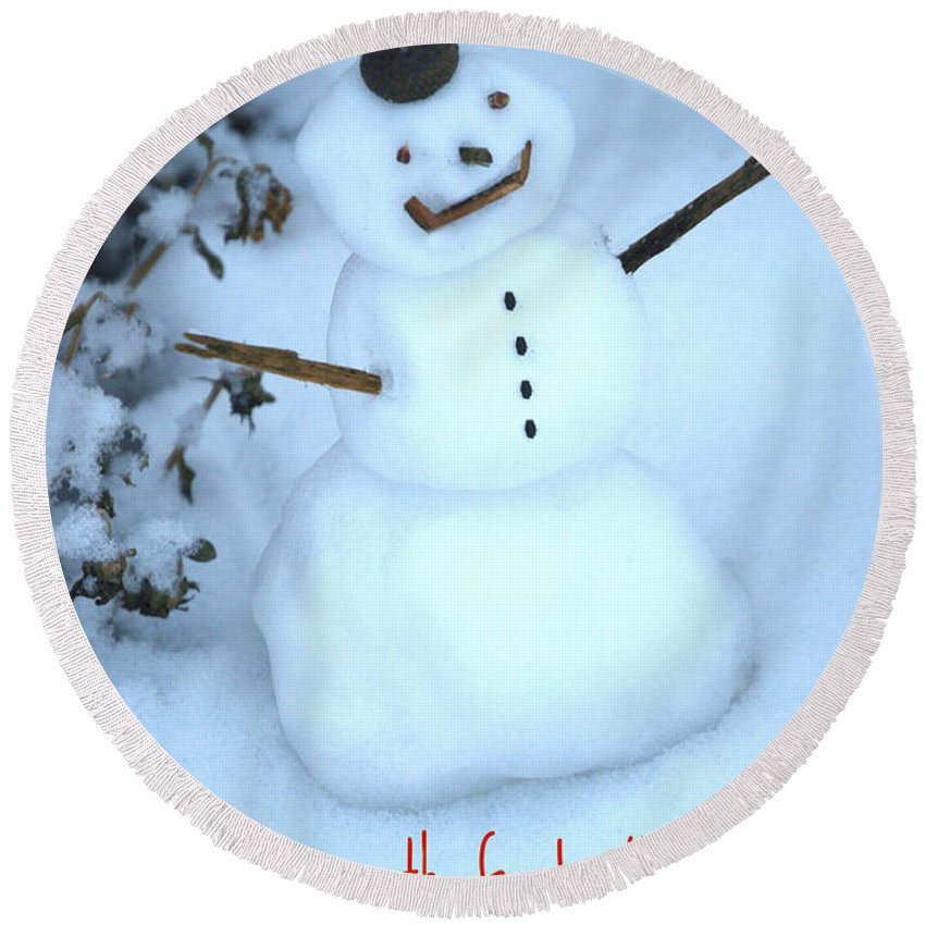 Acorn Hat Round Beach Towel featuring the mixed media Snowman by Eric Liller