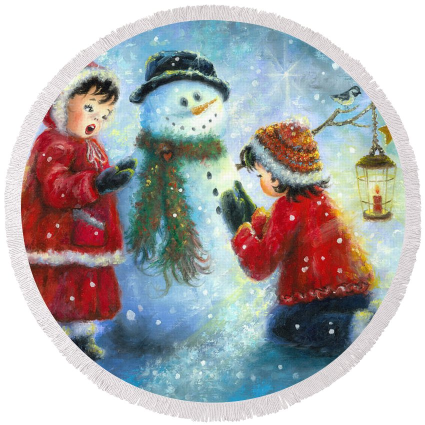 Snowman Round Beach Towel featuring the painting Snowman Song by Vickie Wade