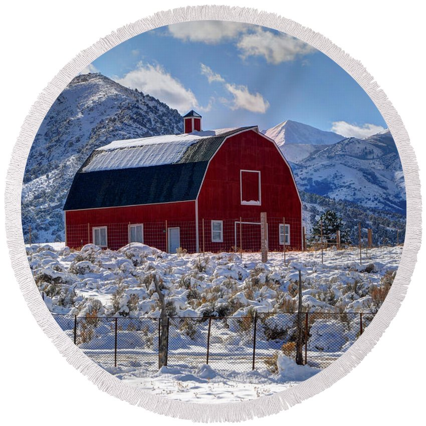 Utah Round Beach Towel featuring the photograph Snowy Barn In The Mountains - Utah by Gary Whitton