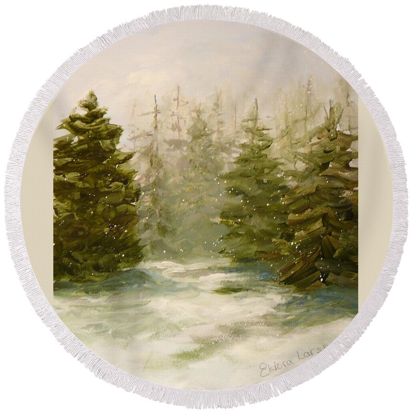 Pines Round Beach Towel featuring the painting Snowy Day by Eldora Schober Larson