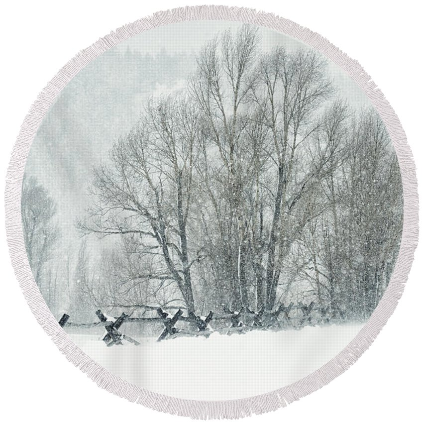 Grand Teton Round Beach Towel featuring the photograph Snowy Day In The Tetons by Sandra Bronstein