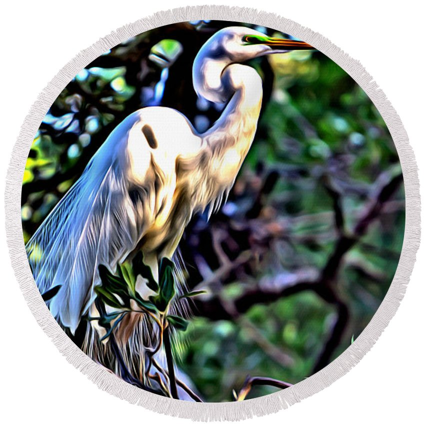 Egret Snowy Trees Birds Fowl Alicegipsonphotographs Round Beach Towel featuring the photograph Snowy Egret by Alice Gipson