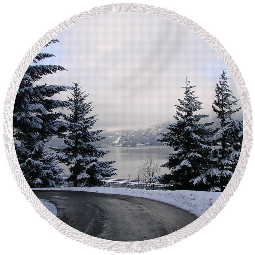 Trees Round Beach Towel featuring the photograph Snowy Gorge by Athena Mckinzie