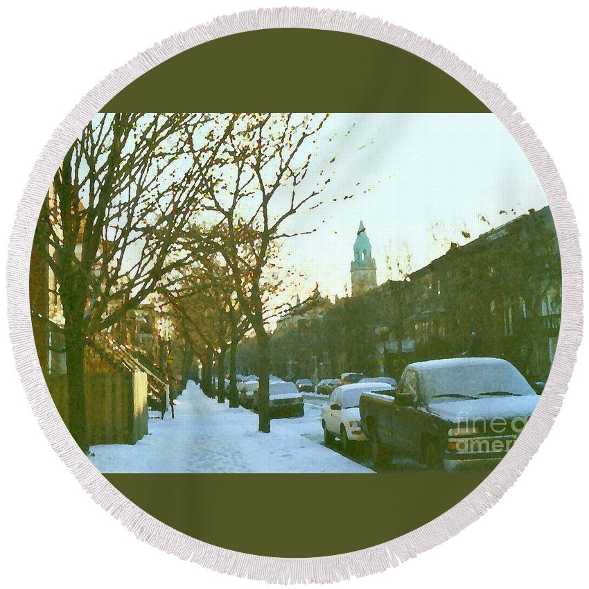Montreal Round Beach Towel featuring the painting Snowy Montreal Winters City Scene Paintings Verdun Memories Church Across The Street by Carole Spandau