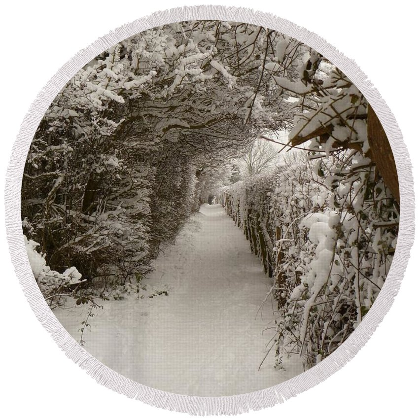 Snow Round Beach Towel featuring the photograph Snowy Path by Vicki Spindler