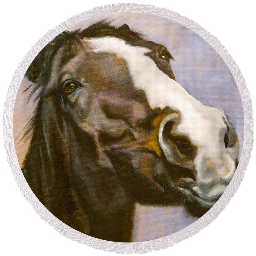 Horse Round Beach Towel featuring the painting Hot To Trot by Susan A Becker