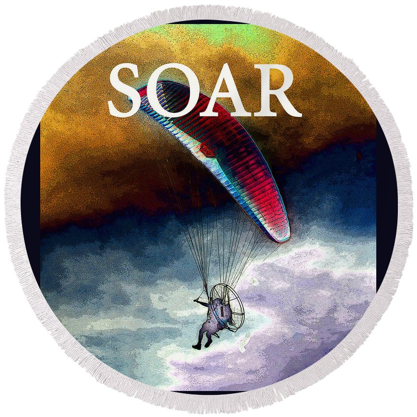 Soar Round Beach Towel featuring the painting Soar Work A by David Lee Thompson