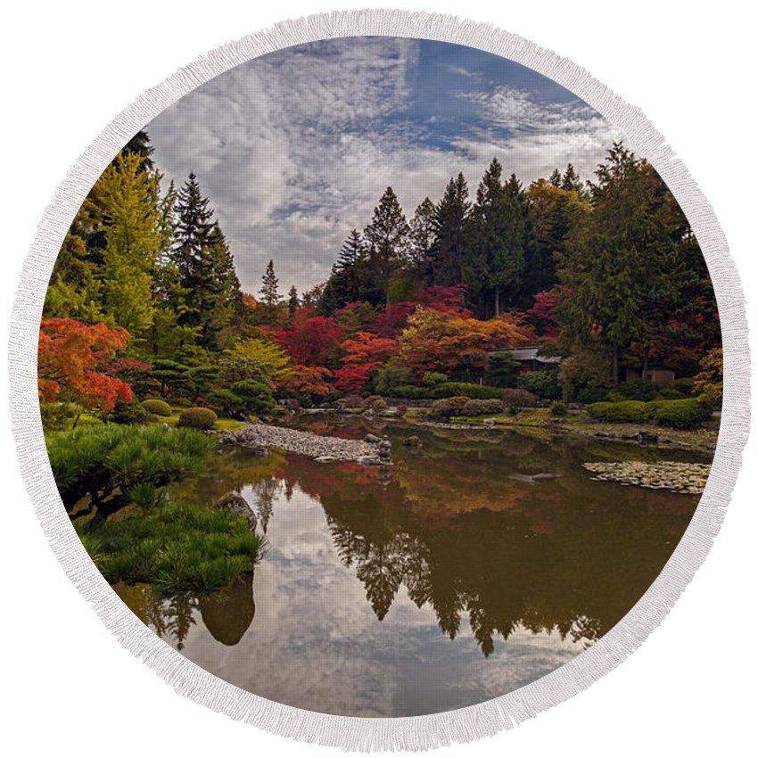 Autumn Round Beach Towel featuring the photograph Soaring Autumn Colors In The Japanese Garden by Mike Reid